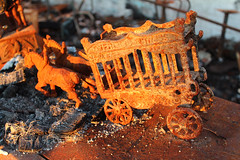 Burned antique shop (plasticfootball) Tags: illinois pyramid burned firedamage circuswagon castirontoy