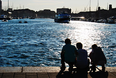 Silhouette (Edoardo Vanetti) Tags: light sunset sea game france water kids port reflections children harbor boat marseille ship profile seafront shape marseilles