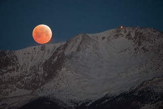Lunar Eclipse Moonset - Pike's Peak, Colorado
