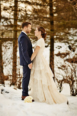 Sunna & Steinr (LalliSig) Tags: blue winter wedding people woman brown snow man cold tree ice iceland blurry photographer bokeh