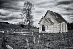 Abandoned church, North Island, New Zealand (don't count the pixels) Tags: newzealand blackandwhite monochrome churches chapels silverefexpro lighroom5