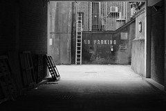 No Parking (its Jason B) Tags: street urban blackandwhite london canon noparking ladder 50mmf14 jasonb 70d