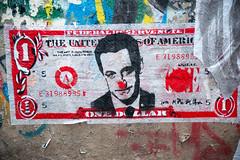 Mimi the Clown (dprezat) Tags: street urban usa streetart paris art collage painting stencil nikon clown tag graf mimi spray peinture dollar aerosol sarkozy bombe d800 pochoir nicolassarkozy migueldonvez mimitheclown nikond800