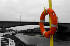 The Clyde (RobK5) Tags: blackandwhite water monochrome river scotland unitedkingdom britain glasgow fineart quay lifebuoy quayside theclyde