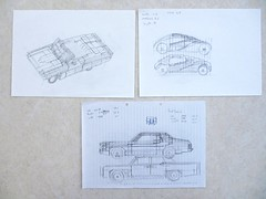 Car design drawings: movie cars