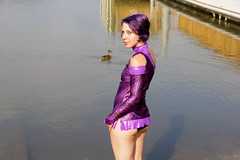 """""""Me and the Ducks""""   Laurie Glimmer-121 (The A Eye) Tags: woman beach girl beautiful beauty model pretty modeling chesapeakebay purplehair beachwear sandypoint canon60d laurieglimmer"""