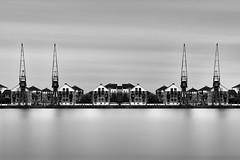 Dockside Living... (JH Images.co.uk) Tags: longexposure houses blackandwhite bw london art architecture docks crane fine royal symmetry le symmetric dri hdr