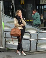 Schiphol Airport Smoking E (GeRiviera) Tags: netherlands girl dutch airport candid nederland smoking schiphol