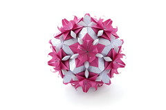 Hoya kusudama (ronatka) Tags: birthday pink flowers flower square whitebackground lilac gift rectangle modularorigami kusudama peterkeller efs18135mmf3556is nataliaromanenko vogpaper rectangle12