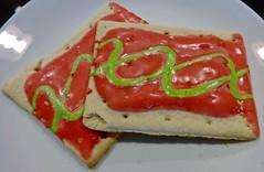watermelon pop-tarts (Fuzzy Traveler) Tags: food breakfast poptarts toaster watermelon pastry kelloggs