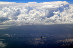 A company between mountains and clouds (Rahul Gaywala) Tags: cloud mountain plane aircraft aerial lucky midair arial