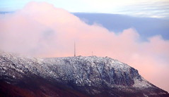 Shrouded in Pink (elliott.lani) Tags: pink sky cloud snow mountains colour beautiful weather clouds outdoors skies mount lani allrightsreserved mountwellington weatherphotography kunanyi elliottlani lanielliott