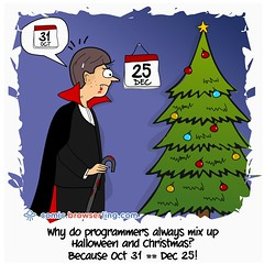 Dates - Webcomic about web developers, programmers and browsers (browserling) Tags: christmas tree halloween comics comic webcomics conversion browser designer vampire joke web oct browsers internet cartoon systems dec testing system number developer dev 25 jokes developers date numeral dates 31 cartoons base development webs webcomic designers webdev internets bases decimal programmer dec25 programmers radix oct31 octal crossbrowser browserling