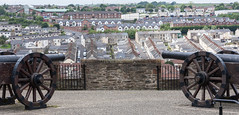 The Bogside from the City Walls (ghostwheel_in_shadow) Tags: ireland wall europe unitedkingdom military bogside londonderry weapon cannon northernireland fortification bastion services derry citywall ulster crenellation publicarchitecture architecturalelement militarystructures architectureandstructures
