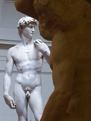Michelangelo's unfinished work & David (ashabot) Tags: italy sculpture art museums michelangelo accademiagallery