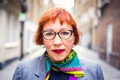 Sharon [Stranger 112 / 200] Soho, London (barbasboth) Tags: 100strangers 35mm barbaraasbothphotography colorful fuji fujifilm headshot london portrait redhair redlips soho street streetportrait xt10