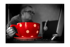 The All Important Morning Cuppa (RonnieLMills) Tags: morning red portrait white color colour cup coffee self 35mm big nikon flickr all tea kick polka dot 18 important caffiene checkin selective cuppa selfie d3300