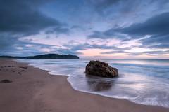 The Rock II (Nick Twyford) Tags: newzealand seascape rock clouds sunrise nz coromandel hahei hotwaterbeach leefilters lee09nd nkond800 nikkor160350mmf40 solmetageotaggerpro2 lee06gndsft