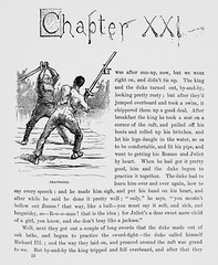 """""""The duke and the king practice the sword fight."""" Art by E. W. Kemble from """"Adventures of Huckleberry Finn"""" by Mark Twain (1885). First U.S. edition. (lhboudreau) Tags: illustration book etching drawing illustrations drawings books blackman slavery swordfight webster slave marktwain bookart 1885 hardcover etchings samuelclemens swordplay huckfinn kemble firstedition vintagebook huckleberryfinn chapterheading hardcovers classicfiction charleswebster hardcoverbooks hardcoverbook chapter21 adventuresofhuckleberryfinn classicstory runawayslave charleslwebster chapterxxi classictale negroslave ewkemble dukeandtheking firstamericanedition firstusedition charleslwebsterco charleslwebsterandcompany"""