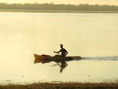 Canoeing at sunrise (yooperann) Tags: man tree rural sunrise belize lagoon canoe crooked