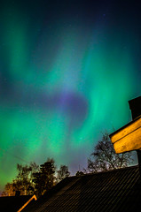 Aurora borealis (Lisa Widerberg) Tags: blue trees sky sun green home colors silhouette night dark stars lights evening weird town colorful colours sweden stockholm magic alien north magenta late unusual colourful scandinavia magical starry astrology northernlights auroraborealis astrophoto norrsken starrynightsky