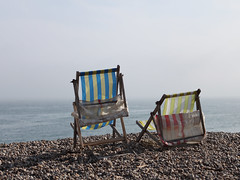 Deck Chairs at Beer (717Images) Tags: old sea two england beach beer coast seaside chair view seat pair traditional shingle resort canvas deck coastal devon deckchairs