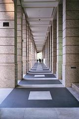 walkway perspective. (howard-f) Tags: urban architecture analog design cityscape minolta taiwan taipei expiredfilm shinyi filmisnotdead minoltahimaticaf2 filmwaster istillshootfilm expiredkodak400