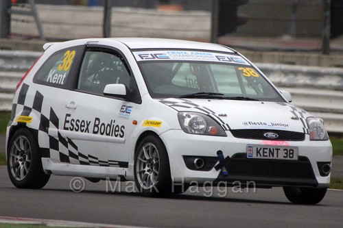 Lewis Kent in the BRSCC Fiesta Junior Championship at Silverstone, April 2015