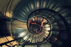 (Stokesmachine) Tags: camera city paris france stairs de spiral climb interesting g small steps arc triomphe r handrail gr ricoh bannister