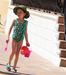 Little Miss Muffet (Andy Arecco) Tags: cute beach girl hat walking holding little florida south adorable cutie hollywood buckets shovel miss swimsuit muffet