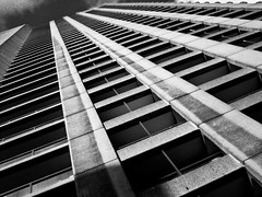 The Barbican (Gary Kinsman) Tags: bw london tower vertical architecture concrete blackwhite towers modernism barbican lookingup diagonal highrise angular brutalism modernist brutalist 2007 cityoflondon ec2