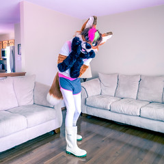 Sporty Foxx (Ice Foxx) Tags: pink cute male hoodie furry tail crossdressing fox shorts rubberboots partial leggings fursuit femboy femboi 91e207427274e5