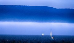 Sailing on the bay (Danny VB) Tags: ocean blue summer vacation mist mountain holiday canada clouds canon bay sailing july mount québec 6d gaspésie gaspé canon6d ef70200mmf28lisiiusm