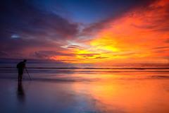 The Landscape Photographer (Hafiz Anwar) Tags: travel sunset panorama orange beach nature canon dark landscape scenery bluesky sarawak malaysia backpack plain refelection photogrpaher