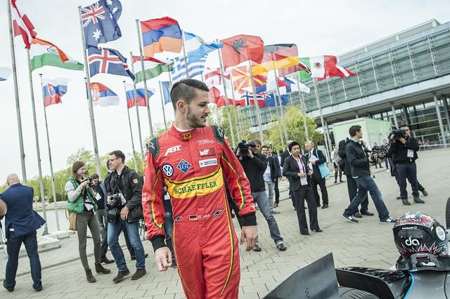 Daniel Abt inspects the Formula E car