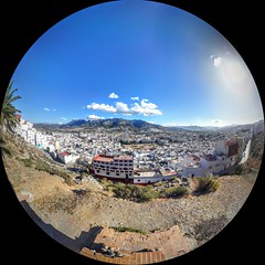 Whole City (Yassine Abbadi) Tags: city sky sun mountain monument mosque fisheye morocco maroc medina curve marruecos rif kasbah tetuan barrack tetouan cityskape