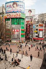 shinjuku-2661 (yukkycakes) Tags: shinjuku tokyo japan bikes people bicycles pedestrians pedestriancrossing shops witcheshats busy bustling