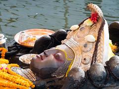 Vishnu Budhanilkantha ceremony (davdenic  in the sky ) Tags: nepal god colors religion