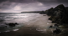 Bedruthan Steps II (David Haughton) Tags: panorama seascape art beach landscape coast rocks cornwall cloudy pano tide low fine panoramic coastline cornish bedruthan bedruthansteps