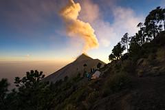 Plume of Ash Above Volcano Fuego (departing(YYZ)) Tags: travel sunset people nature landscape volcano guatemala antigua centralamerica volcanacatenango