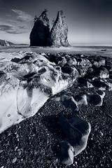 Rialto Beach 2 (saganorth2000) Tags: sunset blackandwhite bw beach monochrome clouds coast washington nationalpark boulders mossy gravel seastacks rialtobeach rockformation olympicnp