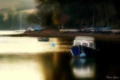 Boats Adrift (Karen James) Tags: boats river devon goldenlight buoy landscape kj trees