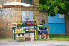 Fruit and vegetable seller. (mathematikaren) Tags: woman vegetables fruit village serbia vendor produce balkans fruitstand seller easterneurope vojvodina donauschwaben ravnoselo schowe vojvodenia