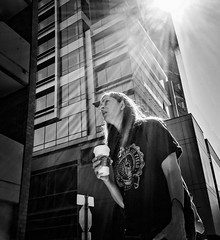 And Then The Morning Comes (TMimages PDX) Tags: road street city people urban blackandwhite monochrome buildings portland geotagged photography photo image streetphotography streetscene sidewalk photograph pedestrians pacificnorthwest avenue vignette fineartphotography iphoneography