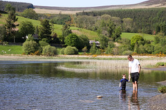 Father and son (mulderig101) Tags: family ireland nature rural reeds child father scenic son glendalough shore paddling wicklow wetsuit maryemulderrig