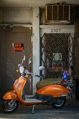 (182/366) Scooter (CarusoPhoto) Tags: fuji x20 john caruso carusophoto photo day project 365 366 scooter chicago city urban orange banal mundane ordinary everyday
