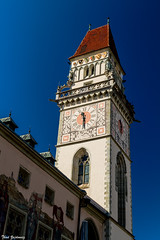 Altes Rathaus Passau (Thad Zajdowicz) Tags: altesrathaus passau bavaria germany clock tower building architecture structure roof windows color red white blue colour zajdowicz canon eos dslr 7d digital availablelight lightroom lines angles outside travel deutschland outdoor clocktower