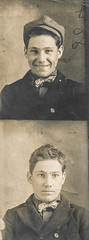 Two portraits of a smiling young man (simpleinsomnia) Tags: old boy white house man black monochrome smiling sepia vintage booth found photo blackwhite photobooth serious antique snapshot young photograph teenager vernacular adolescent youngman hopi foundphotograph hopihouse