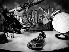 World domination just ain't what it used to be. (von8itchfisk) Tags: office globe gun desk cunt boredom pistol mug mugshot gasmask worlddomination balaclava sucker selfie knitwear businessisslow gregoryporter battisford vonbitchfisk internationaldresscommandoday