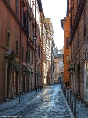 I wonder where this street goes (Belinda Fewings (2.5 million views. Thank You)) Tags: street travel urban italy orange woman dog holiday rome color colour roma tourism architecture buildings reflections interestingness italian italia shadows artistic creative reflect colourful cobbles lowry lazio sidestreet likeapainting creativeartphotography panasoniclumixdmc pbwa belindafewings